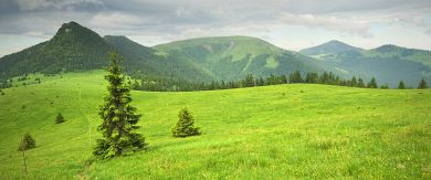 Grassland below Mincol - from the right: Cierny Kamen, Ploska and Borisov